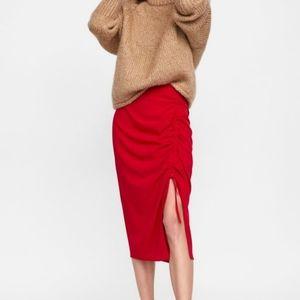 NWT Zara Woman Studio Rare Slit Drape Jersey Skirt